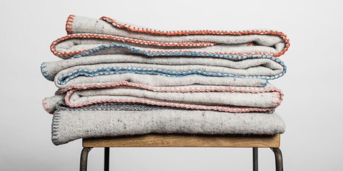 Snuggle up in a recycled wool blanket from Seljak Brand